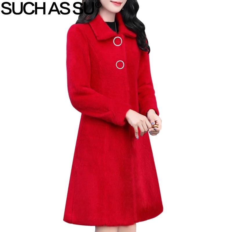 Wool Coat Womens New 5 Color Long Sleeve Turn Down Single Breasted Villus Coats Female M