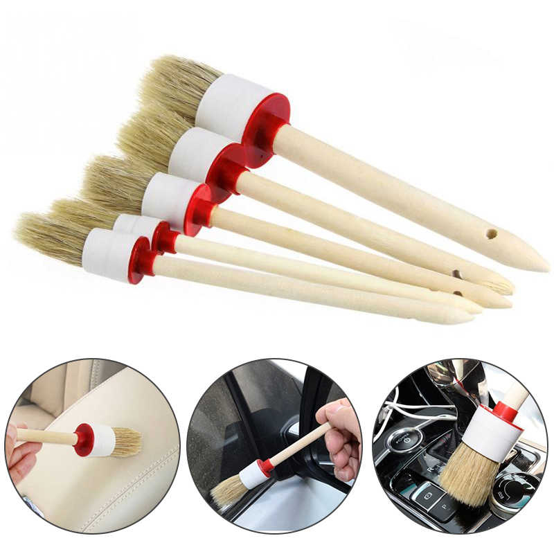 1PC Car Cleaning Brush Soft Bristle Wood Handle for Interior Dashboard Rims Wheel Air-Conditioning Engine Wash Car Cleaning Tool