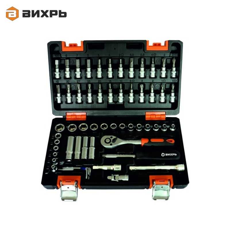 Tool kit, 1/2, CrV VIHR 57 plastic case Repair outfit A set of tools Set of tooling Combination spanners mainpoint 1 4 1 2 3 8 e socket sockets set cr v torx star bit combination drive socket nuts set for auto car repair hand tool