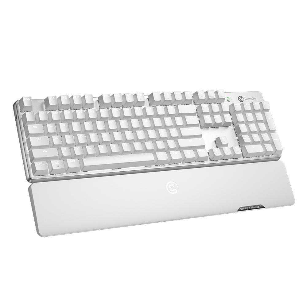 GameSir GK300 White Wireless Mechanical Gaming Keyboard 104 TTC Red Switches For Windows macOS iOS Android