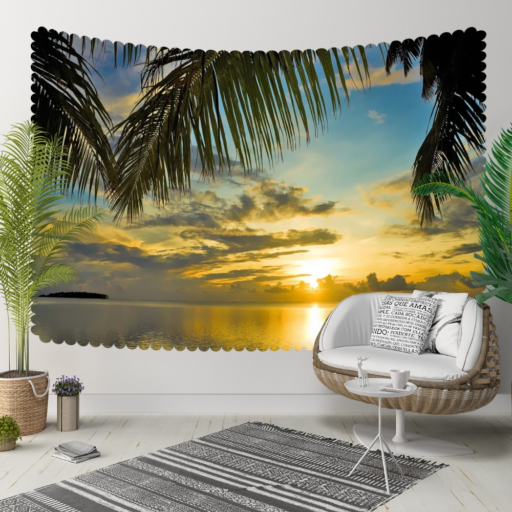 Else Tropical Palm Trees Sun Set Sea Yellow Clouds 3D Print Decorative Hippi Bohemian Wall Hanging Landscape Tapestry Wall Art