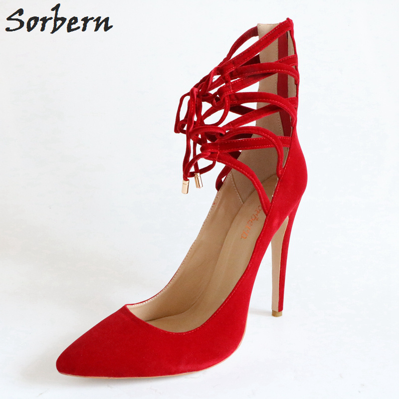 Sorbern Red Heels Woman Pointy Toe Heels Autum Shoes Women Vintage Pumps With Straps Women Dress Med Heels Custom Colors Heels shofoo newest women shoes med heels pointed toe pumps for woman dress