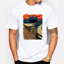 Funny Cookie Monster Printed Cotton Men T shirt Short Sleeve Casual t-shirts Cookie Muncher Tees Cool Tops Us/Eur Size