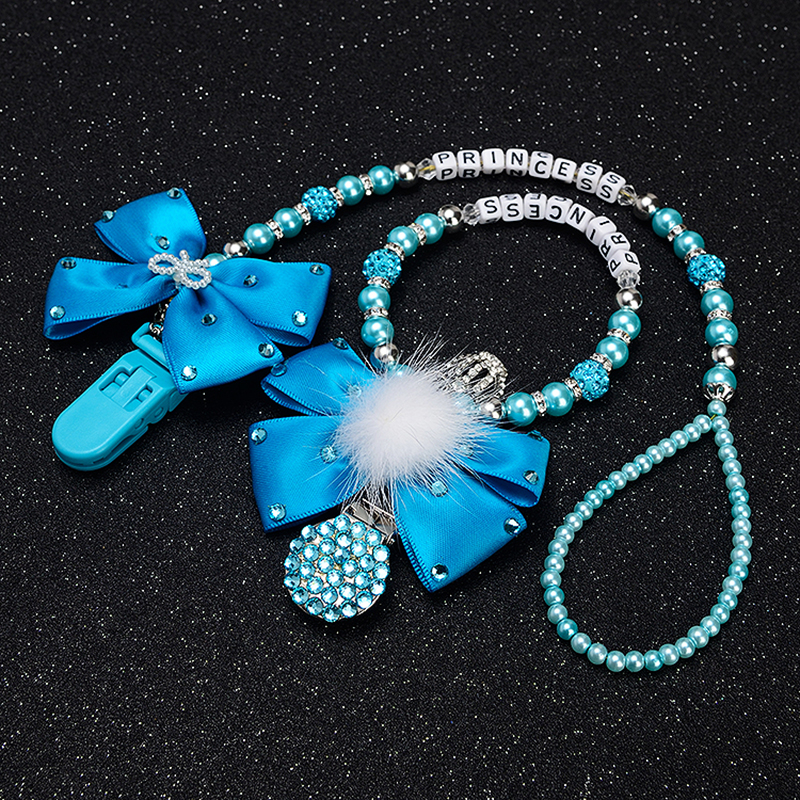 Personalised-any Name Set Stunning Blue Bling Pram Charm/stroller Toy Rattles Bed Toy Rattle Pacifier Clip Holder Dummy Clip