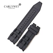CARLYWET 26 мм Оптовая Продажа Черный Водонепроницаемый Высокое качество силиконовой резины замена часы ремешок ремень