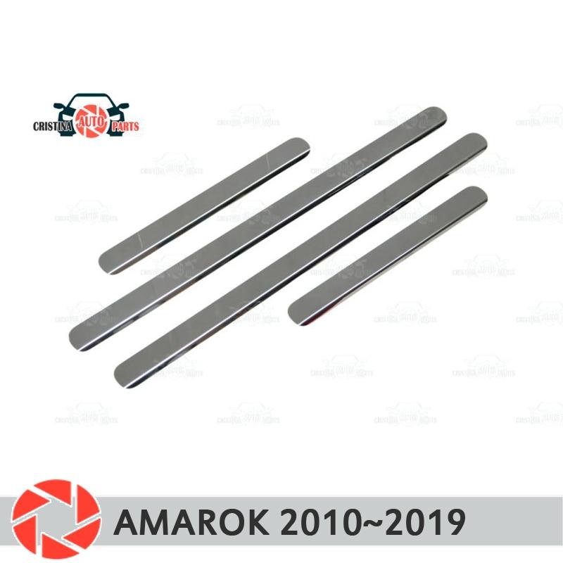 Seuils de porte pour Volkswagen Amarok 2010 ~ 2019 marchepied plaque garniture intérieure accessoires protection éraflure voiture style décoration clair