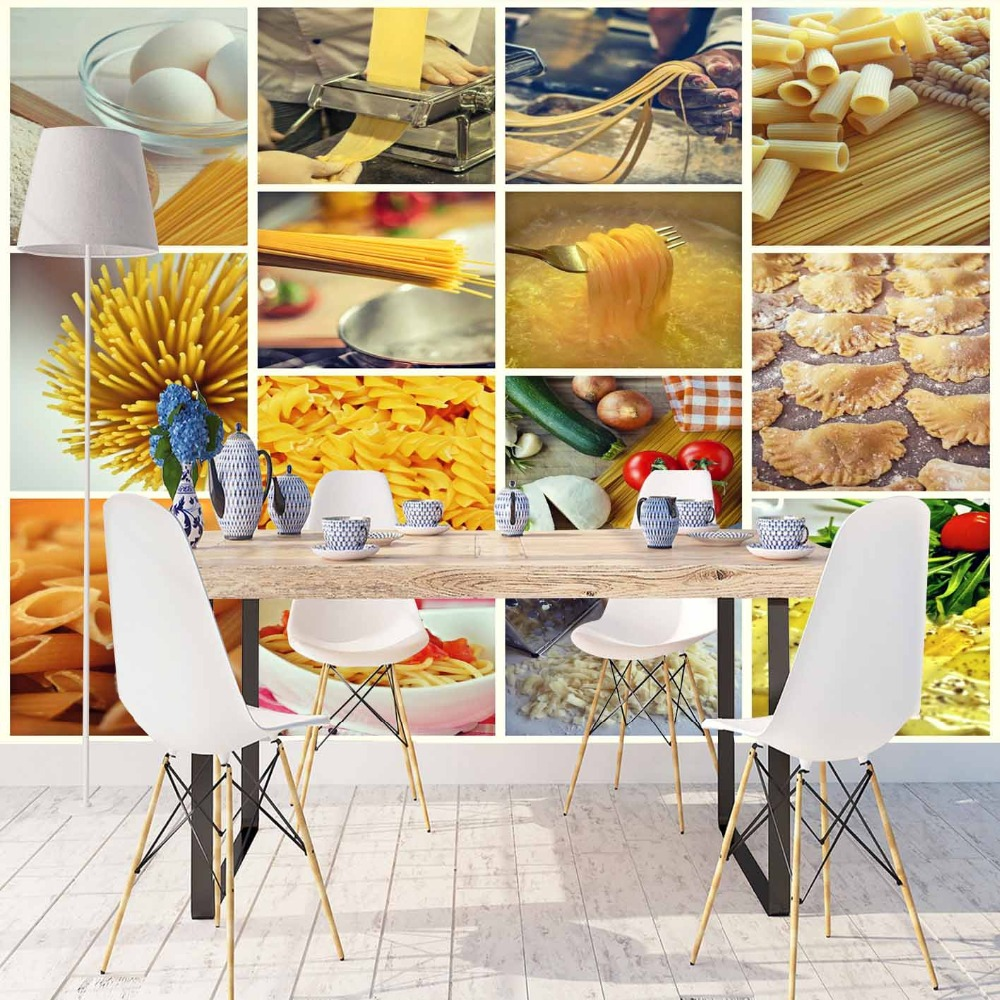 Else Food Preparation Cheese Macaroni Patchwork 3d Print Photo Cleanable Fabric Mural Home Decor Kitchen Background Wallpaper