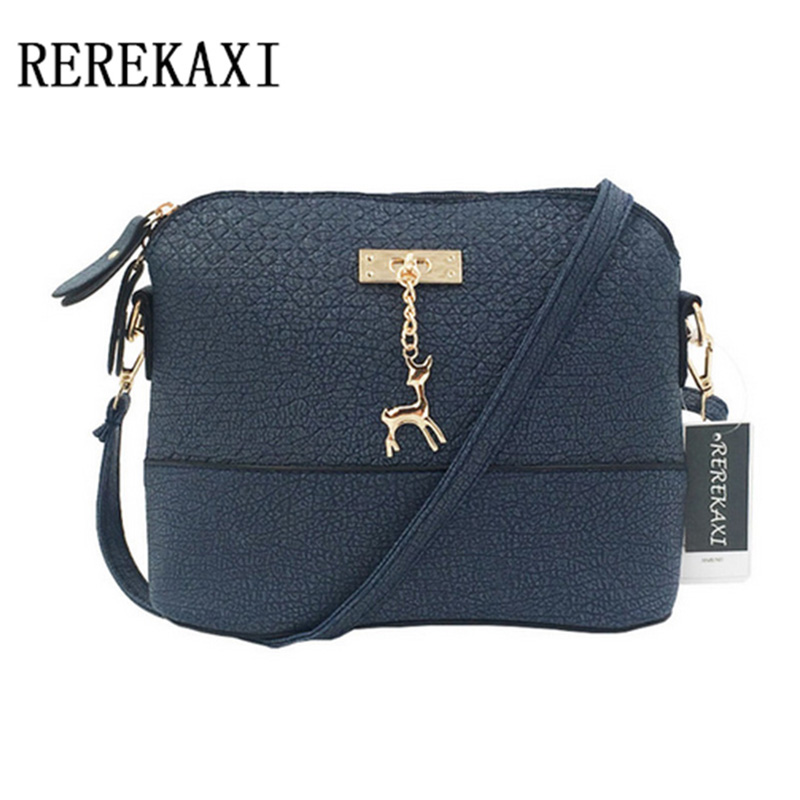 REREKAXI Brands Women Messenger Bags Fashion Mini Bag With Deer Toy Shell Shape Bag Women Shoulder Bag fashion women mini messenger bag pu leather shell shape bag crossbody shoulder bags with deer toy popular