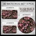 Набор из 3 предметов для ванной комнаты с изображением розовых роз  кирпичной стены с 3d принтом  нескользящая микрофибра  60x60 см  50x60 см  40x60 см