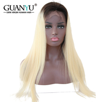 Guanyuhair полный #1B/613 Ombre блондинка Синтетические волосы на кружеве Парики Бразильский Реми натуральные волосы предварительно сорвал прямые во