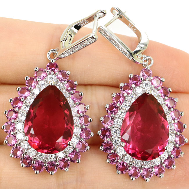 Fancy Long Big 16.6g Pink Tourmaline, White CZ Woman's Gift 925 Silver Earrings 48x24mm