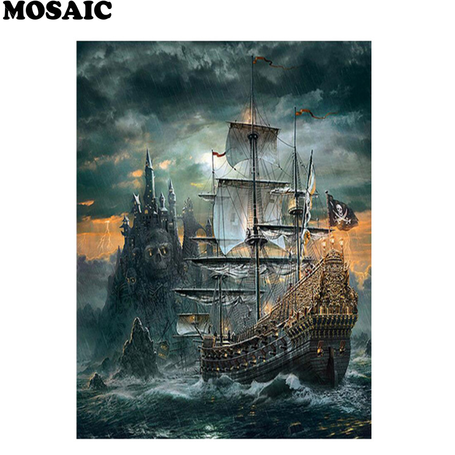 Diy Diamond Painting full square Cross Stitch ship Skull Pirates of the Caribbean Diamond Embroidery Mosaic pictures Handicrafts