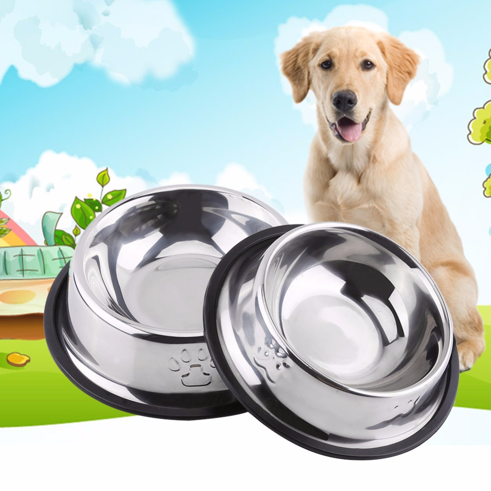 5 sizes steel dog bowl travel feeding feeder cat water bowl cat