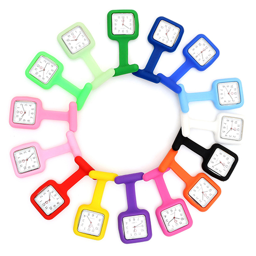 Silicone Nurse Watch Brooch Tunic Fob Watch With Free Battery Doctor Medical New 6pcs lot acrylic cartoon nurse retractable badge reel id name tag card badge holder reels 2018 new doctor nurse supplies