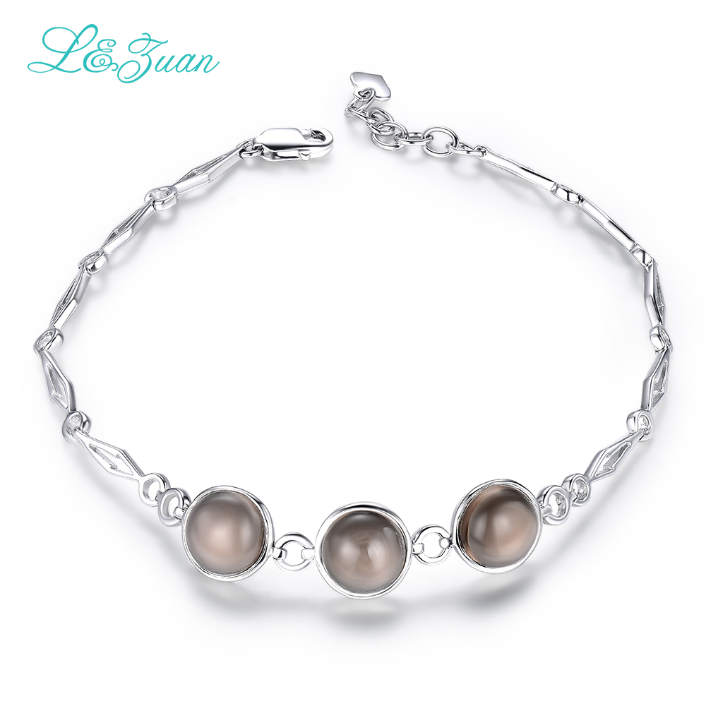 l&zuan Fashion Silver Bracelet 5.48ct Natural Smoky Crystal Brown Stone Sterling Silver Jewelry Bracelets For Women natural cl10 12 constellation brown leather multi colored stone crystal bracelet