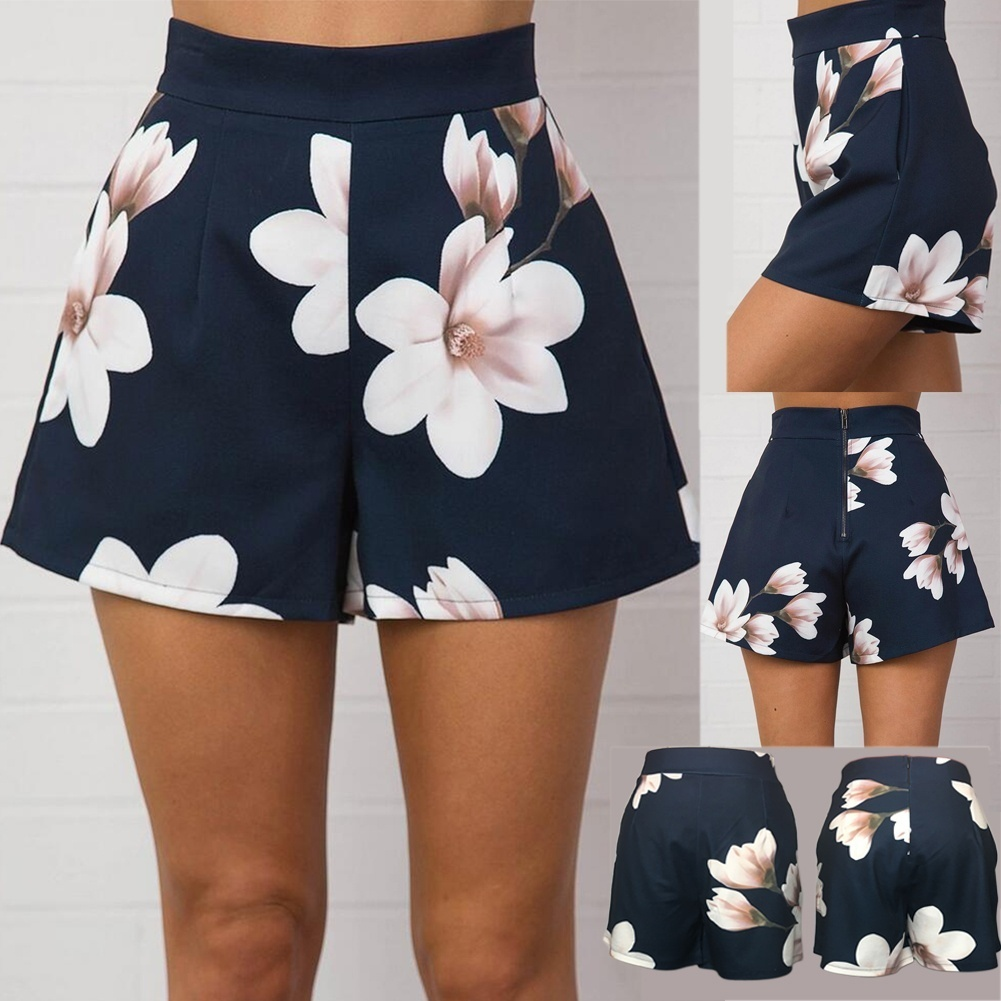 Fashion Women's Casual Summer High Waist Zipper   Shorts   Floral Printed hot   Shorts