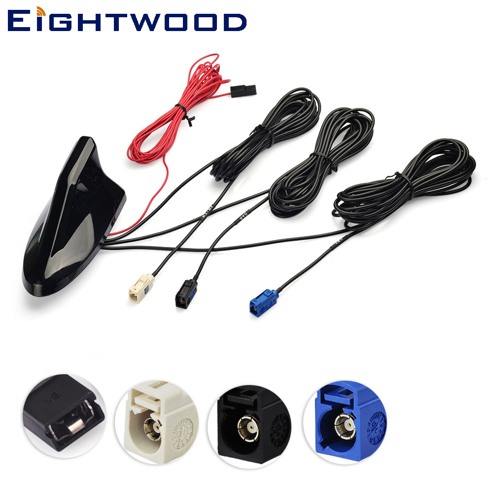 Eightwood Car Roof Shark Fin Amplified Antenna,GPS Navigation,DAB Digital Radio Tuner,Receiver Car Stereo FM/AM Radio Combined eightwood car roof top shark fin amplified antenna for gps navigation system dab digital radio car stereo fm am radio combined