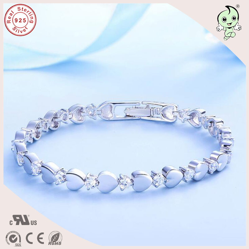 Good Quality Love Heart Theme Silver Jewelry Gift 925 Real Silver Heart Link Bracelet For Girls popular good quality gift silver jewelry bangle pink love heart famous crystals 925 pure silver bangle