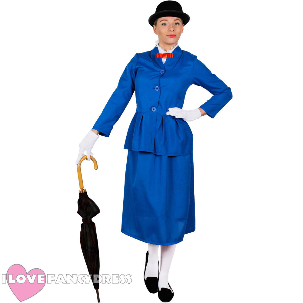 MARY POPPINS LADIES VICTORIAN MAGICAL NANNY MOVIE HALLOWEEN COSTUME BOOK CHARACTER VICTORIAN FANCY DRESS ADULT WOMENS COSPLAY