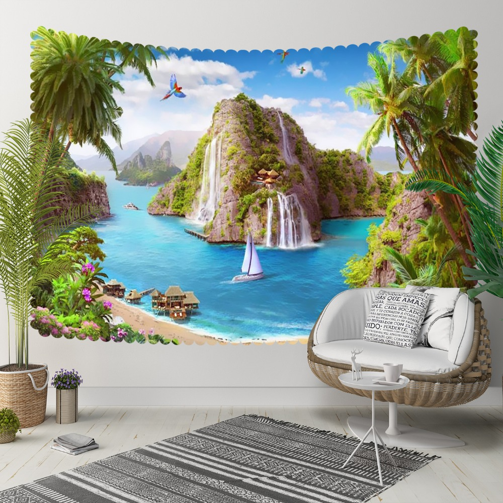Else Green Tropical Leaves Island Waterfall Blue Sea 3D Print Decorative Hippi Bohemian Wall Hanging Landscape Tapestry Wall Art