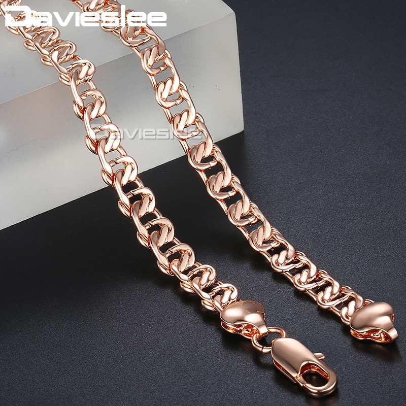 585 Rose Gold Necklace for Women Snail Link Mens Womens Chain Necklaces Jewelry Gift for Women 7.5mm DLGN219