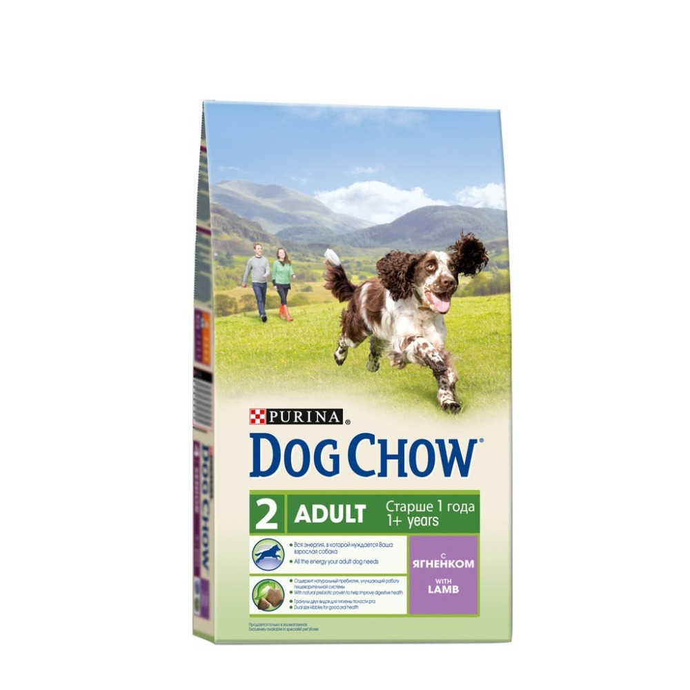 Dog Chow dry food for adult dogs over 1 year old, with a lamb, 6.4 kg.