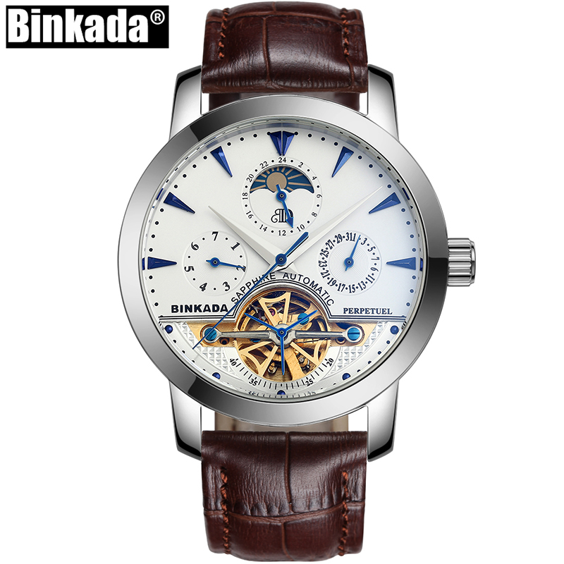 Top Luxury Brand Sport Tourbillon Mechanical Watches Casual Self Wind Full Steel BINKADA Skeleton Business Mens Automatic Watch цена