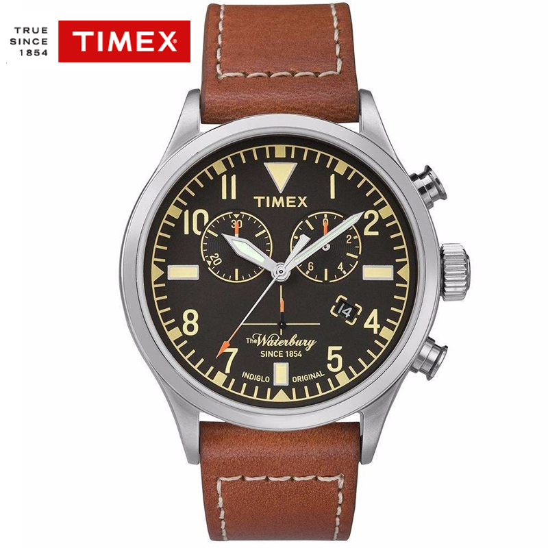 Timex TW2P843 Men Watch Leather Chronograph Water Resistant Simple Casual Business Men Watches timex tw2p90300