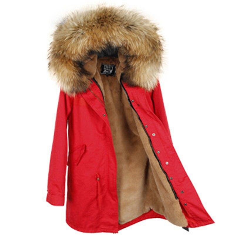 2018 NewWomen Inverno Giacca Staccabile Fodera Esercito di Colore Verde Grande Reale collo di Pelliccia di Procione Con Cappuccio Del Cappotto Outwear Lungo Parka di Marca di Stile
