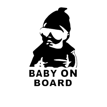 Fashion Lovely Baby On Board Warning Decal Reflective Waterproof Car Window Vinyl Stickers Color Black White HG-WS-1729 image