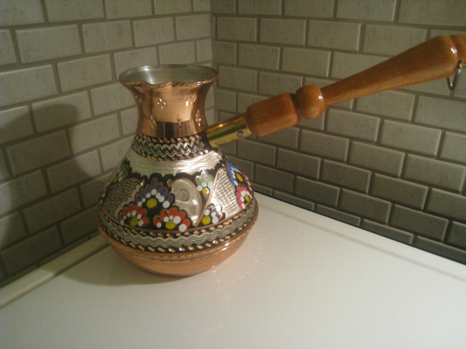 Turco Handmade Russo di Rame di Forma di Caffè Pentola, Cezve Jezve, İbrik Smalto Intagliato