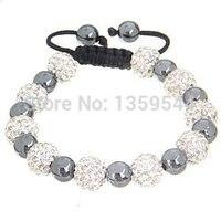 Ten Handmade Pave White Crystal Balls With Magnetite Beads Black Cord Macrame Bracelet