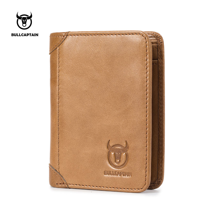 BULLCAPTAIN 2018 New Arrival Mens Wallet Cowhide Coin Purse Designer Brand Wallet clutch leather wallet male wallets and purses bullcaptain new arrival 100