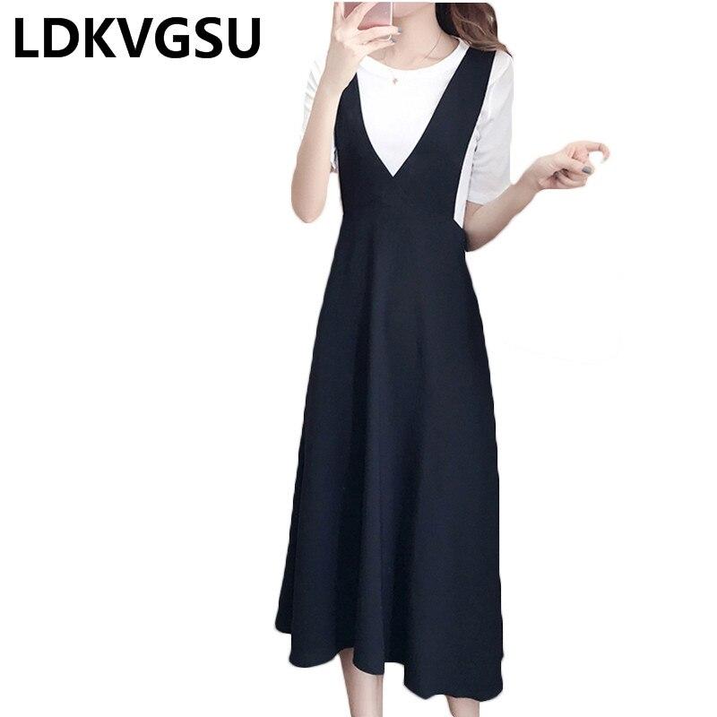 2018 D'été Office Lady 5XL 2 Pièces Ensemble Blanc À Manches Courtes a-ligne Élégante Robe Sangle Noir Oversize Big Plus Taille Dressses Is470