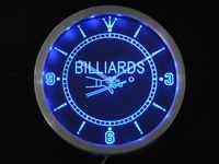 Nc0299 B Billiards Pool Room Table Bar Neon Sign LED Wall Clock