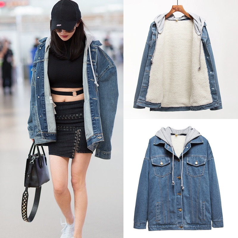women Jacket and Coat Trendy Warm Fleece Thick Denim women Jacket 2019 Winter Fashion Jean Jacket