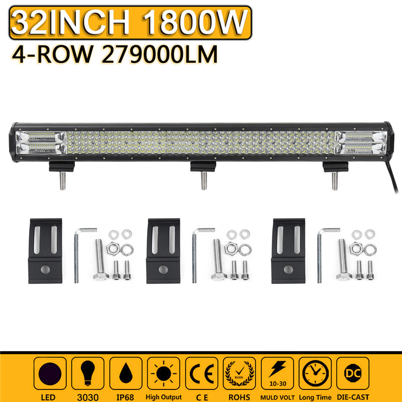 32 Inch 1800W LED Work Light Bar Spot Flood Combo Driving Lamp Waterproof 6000K LED Work Light For SUV ATV Truck Offroad 4WD