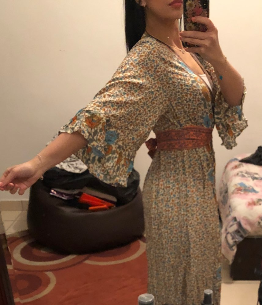 Chic Summer Vintage Floral Print With Sashes Long Dress Women Fashion Kimono Sleeve Maxi Beach Dresses Vestidos Mujer photo review