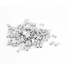 UXCELL 0.8Mm 1/32 Steel Wire Rope Aluminum Ferrules Sleeves Silver Tone 100 Pcs