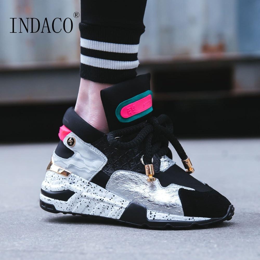 Chaussures Femme Sneakers basket femme 2019 Plate-Forme De Mode Concepteur de Causalité En Cuir 6 cm