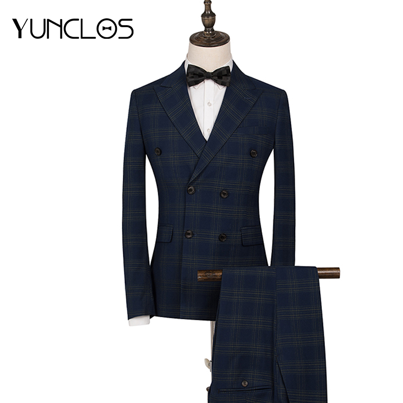YUNCLOS 2019 Classic Plaid Wedding Suit For Men Double Breasted 2 Pieces Slim Fit  Men Tuxedos Party Dress Elegant Male Suits