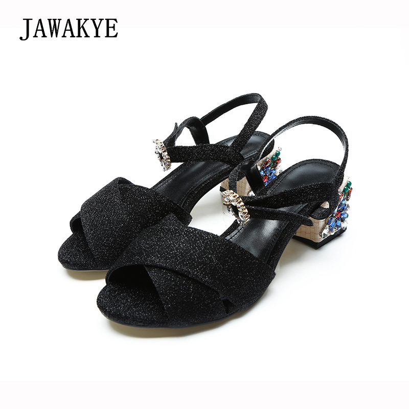 New Runway Black Sandals Women Jeweled Chunky Heel Bling Summer Shoes Cross belt ladies Crystal Buckle Casual Party Sandals new runway designer women sandals jewel heel blue leather chunky high heel shoes pumps ladies crystal buckle sandals party shoes