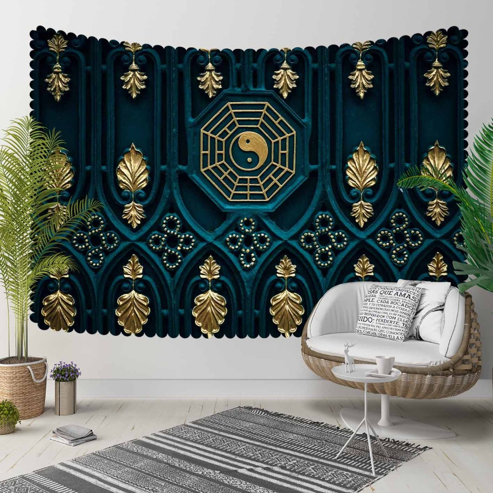 Else Black Green Ottoman Turkish Golden Leaves Peace 3D Print Decorative Hippi Bohemian Wall Hanging Landscape Tapestry Wall Art