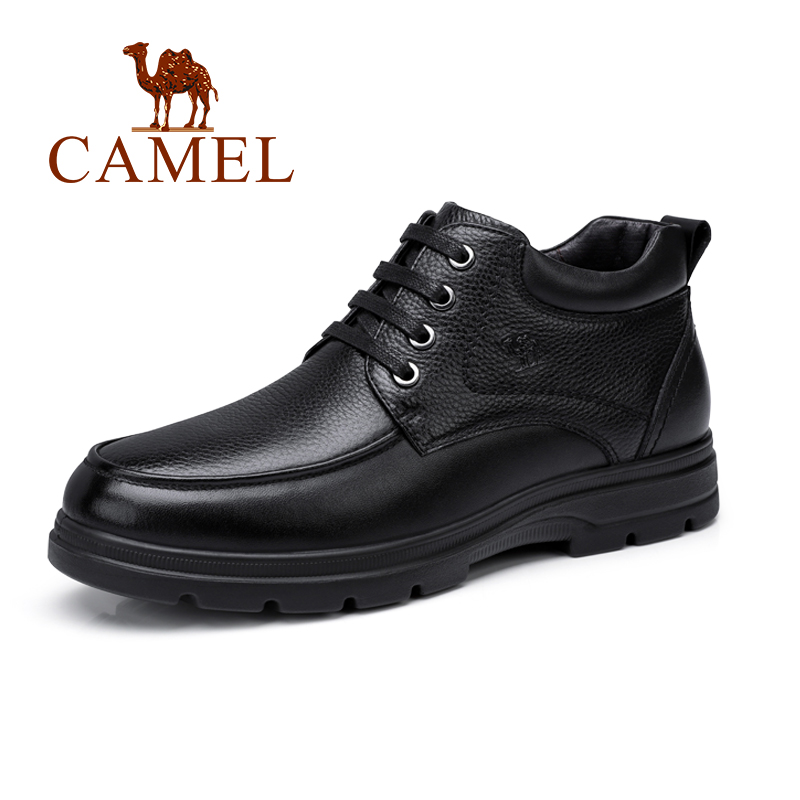 CAMEL Men Shoes with Fur New Business Casual High-top Boots Man Genuine Leather Black British Male Footwear Father Flats 2015 new fashion british martin causal genuine leather men shoes brand camel men shoes real leather men flats casual shoes man