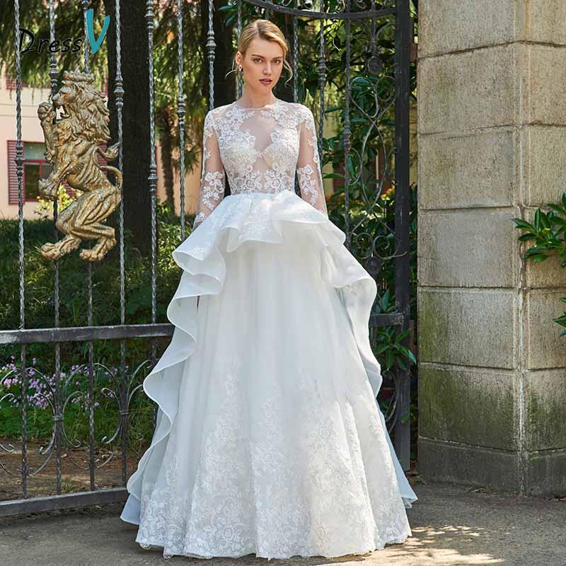 Dressv ivory lace a line appliques wedding dress long sleeves ruffles button floor length bridal outdoor&church wedding dresses