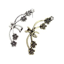 New Plum Flower Clip Ear Cuff Earrings For Women Wedding Jewelry Accessories Brincos Pendientes Bijoux