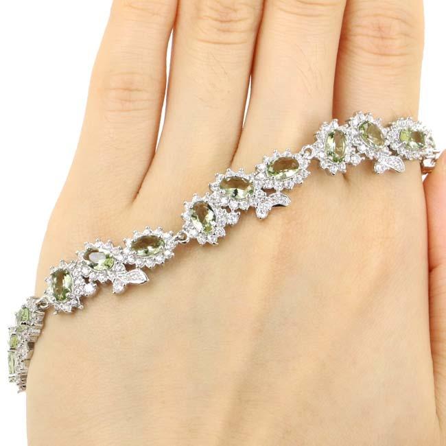 Gorgeous Green Amethyst White Cubic Zirconia 925 Silver Bracelet 6.5-7.5 25x10mm