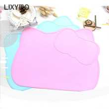 LIXYMO silicone food place mat cute cat bear bunny car shaped heat proof heat insulated pad baby kids non-slip safe table mat