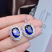цена KJJEAXCMY Fine Jewelry 925 sterling silver inlaid natural sapphire female ring necklace pendant set support review онлайн в 2017 году