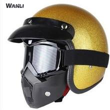 Gold helmet Face Shield Mask for Vintage Retro Motorcycle Helmet Moto Capacete Casco Casque